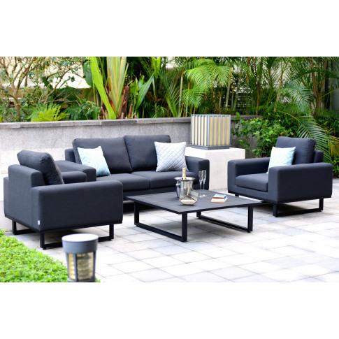 Maze Ethos 2 Seat Charcoal Fabric Sofa Set