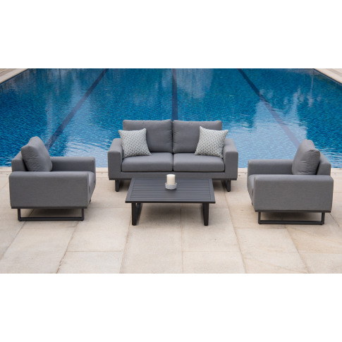 Maze Ethos 2 Seater Flanelle Grey Outdoor Fabric Sof...