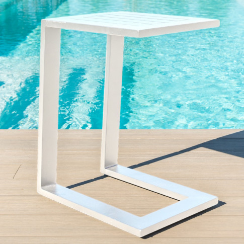 Maze White Aluminium Side Table