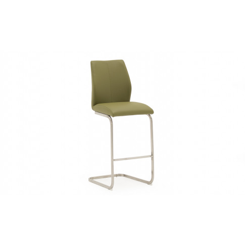 Irma Faux Leather Olive Brushed Steel Bar Stool Chair