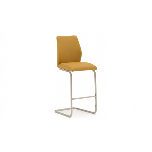 Irma Faux Leather Pumpkin Brushed Steel Bar Stool Chair