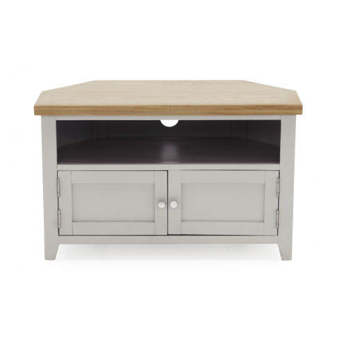 Ferndale Grey Painted With Oak Corner Tv Unit