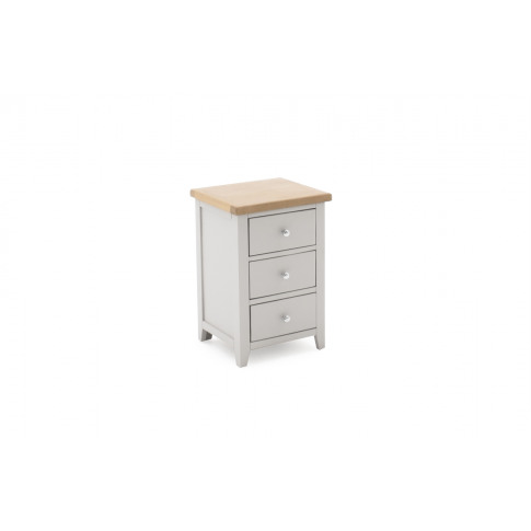 Ferndale Grey Painted With Oak 3 Drawer Wooden Bedsi...