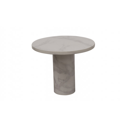 Carra 65cm White Round Marble Lamp Table