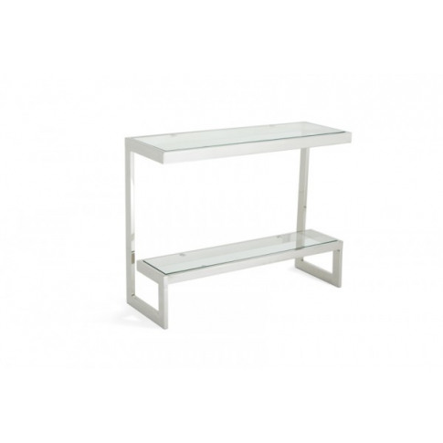 Serene Mera Glass Top With Stainless Steel Console T...
