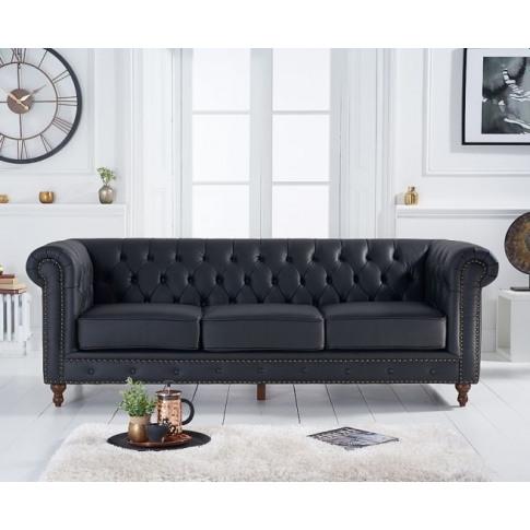 Montrose Black Leather 3 Seater Sofa
