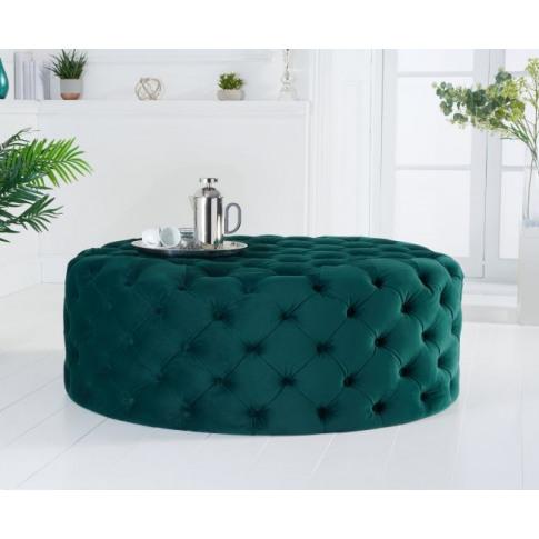 Montrose Green Velvet Large Round Footstool