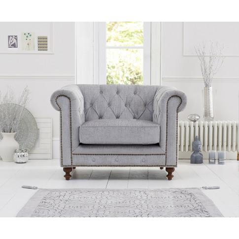 Montrose Grey Plush Fabric Armchair