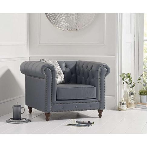 Montrose Grey Leather Armchair
