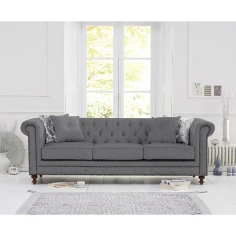 Montrose Grey Linen Fabric 3 Seater Sofa