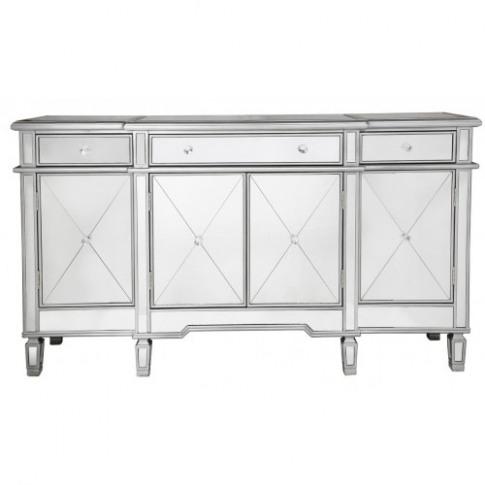 Belmont Silver 3 Drawer 4 Door Mirror Cabinet