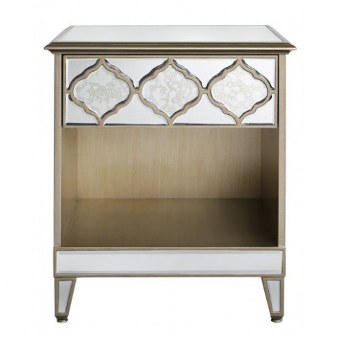 Madeira Mirror 1 Drawer Wooden Bedside Cabinet