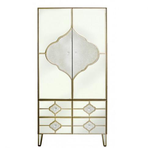 Madeira Mirror 2 Door 4 Drawer Wooden Wardrobe