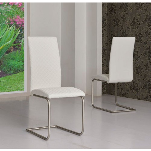 Mulliner White Pu Leather Dining Chair