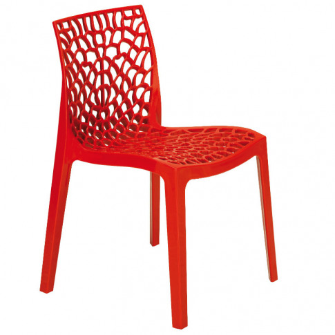 Neptune Rosso Red Polypropylene Stacking Dining Chair