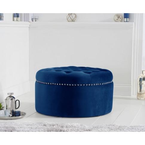 New England Blue Velvet Footstool