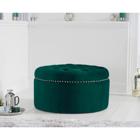 New England Green Velvet Footstool