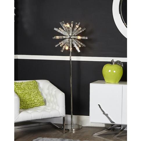Nickel And Glass 9 Orbit Floor Lamp