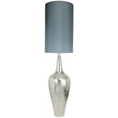 Nickel Elongated Bottle Table Lamp With Taupe Shade