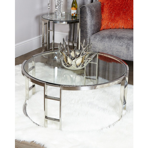 Noah Chrome And Glass Coffee Table