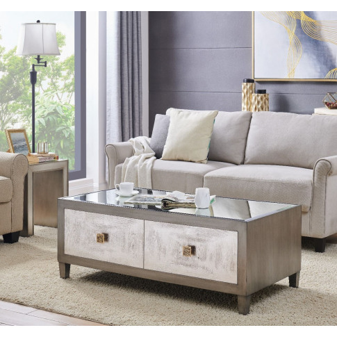 Nova Silver Wooden 2 Drawer Coffee Table