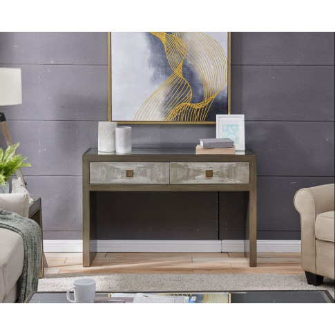 Nova Silver Wooden 2 Drawer Console Table