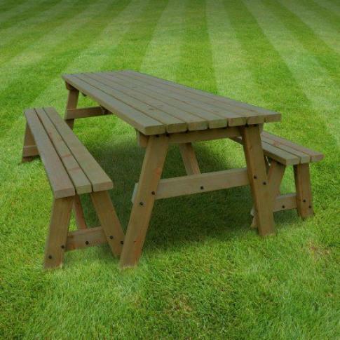 Rutland Oakham 4ft Rustic Brown Picnic Table And Ben...