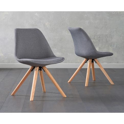 Olivier Dark Grey Fabric Round Leg Dining Chair