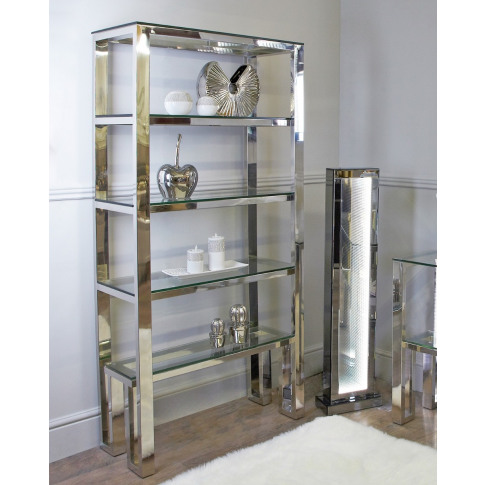 Ollie Chrome And Glass Shelving Unit