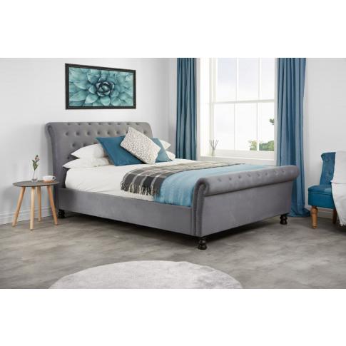 Opulence Grey Velvet 5ft Kingsize Bed