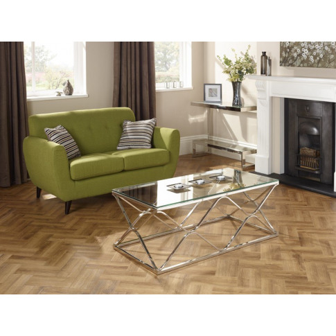 Serene Orion Glass Top Stainless Steel Coffee Table