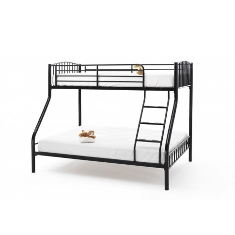 Serene Oslo 4ft6 Double Three Sleeper Black Bunk Bed...