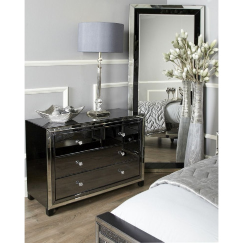 Oslo Smoked And Clear Mirror 4 Drawer Cabinet