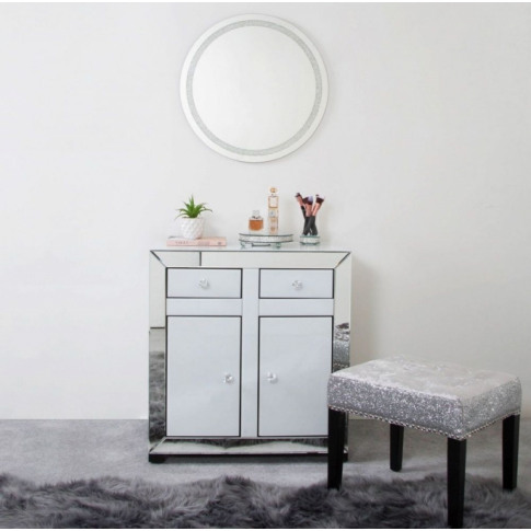 Oslo White And Clear Mirror 2 Drawer 2 Door Cabinet