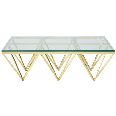 Star Glass Top With Gold Frame Rectangular Coffee Table
