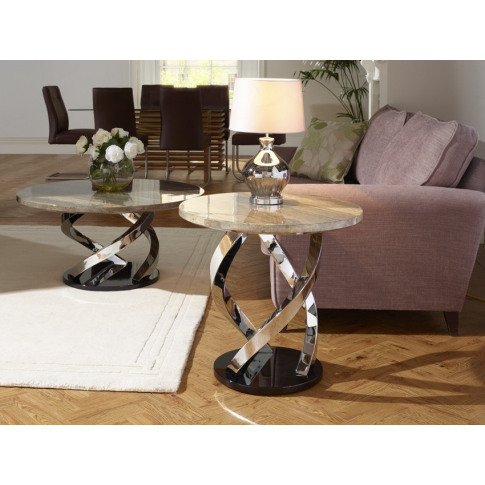 Serene Pandora Marble Effect Chrome Plated Lamp Table