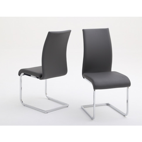 Fairmont Paolo Grey Leather Dining Chairs Pair