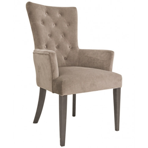 Pembroke Taupe Velvet Fabric Dining Armchair