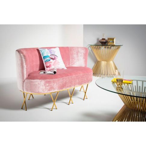 Penelope Pink Velvet 2 Seater Sofa