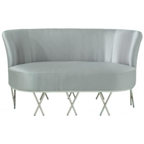 Penelope Grey Silk Fabric 2 Seater Sofa