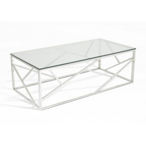 Serene Phoenix Glass Top Stainless Steel Coffee Table