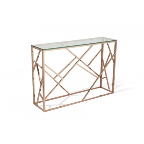 Serene Phoenix Glass Top Rose Gold Console Table