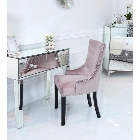 Pink Velvet Tufted Back Dining Chair