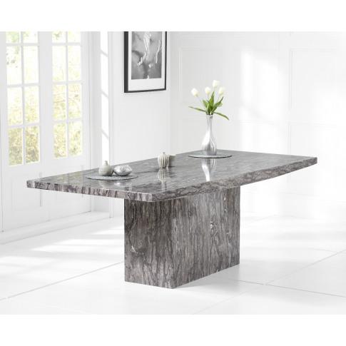 Coruna 220cm Grey Marble Rect. Dining Table