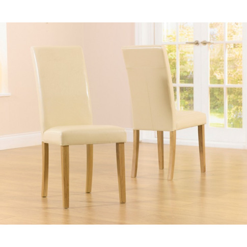 Atlanta Smooth Cream Faux Leather Dining Chair With Solid Oak Legs