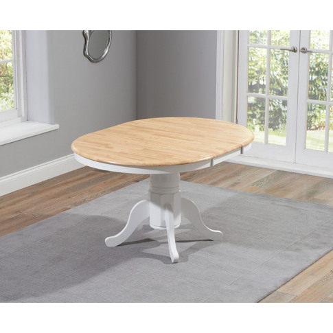 Elstree 100cm Painted Oak & White Wooden Ext. Dining...