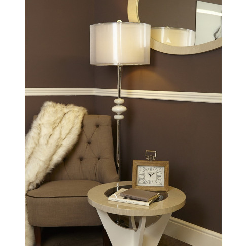 Pure White Pearl Pebble Metal Floor Lamp With Pure W...