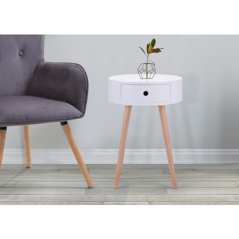 Quinn White Wooden Side Table