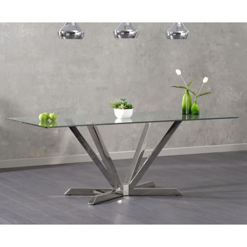 Rene 200cm Clear Glass Rectangular Dining Table