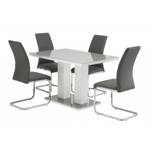 Riley Grey High Gloss 120cm Rect. Dining Table With ...